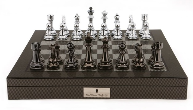 "Dal Rossi: Black/White - 20"" Chess Set (Carbon Fibre)"