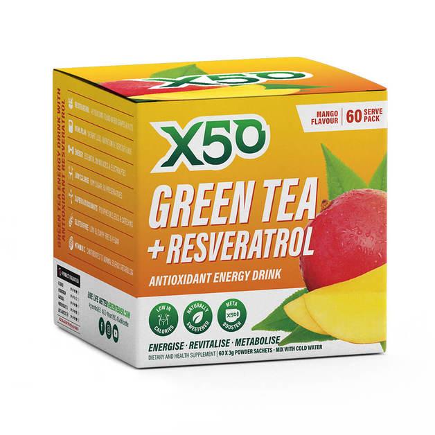 Green Tea X50 + Resveratrol - Mango (60 Serves)