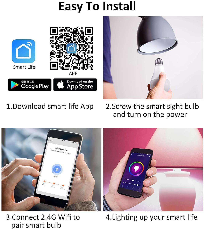 Smart Ape: 10W Colour & Warm/Cool White Smart Bulb (B22, Wi-Fi) - 4 Pack image