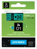 Dymo: 12mm D1 Tape - Black on Green