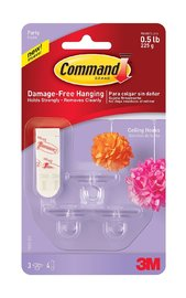Command Party Ceiling Hooks - Clear (3 Pack)