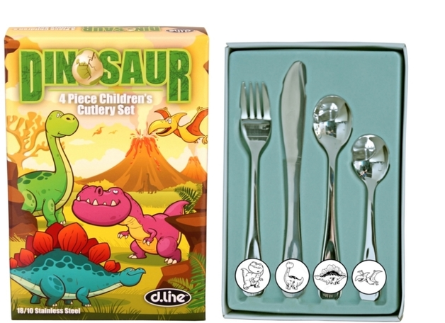 4 Pce Kids Cutlery Set Dinosaurs