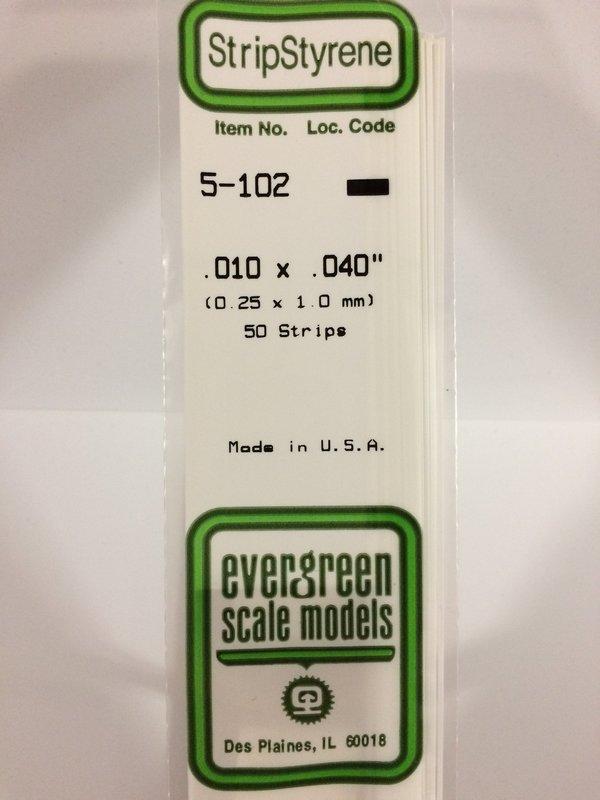 Evergreen Styrene Stripstyrene White.25X1 mm (10)