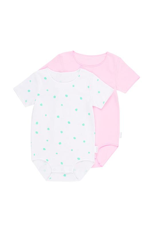 Bonds Wonderbodies Short Sleeve - Cool Bananas Spot White/ Cotton Gumball Pink (Newborn)