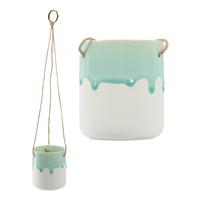 Hanging Crackle Glaze Planter Pot - Winter Frost Green