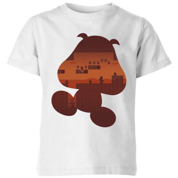 Nintendo Super Mario Goomba Silhouette Kids' T-Shirt - White - 7-8 Years