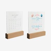 Wooden Base 2019 Desk Calendar