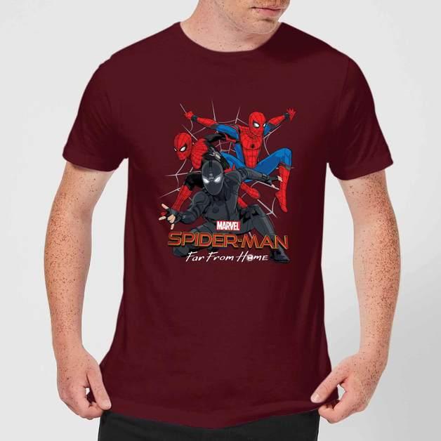Spider Man Far From Home Multi Costume Men's T-Shirt - Burgundy - M
