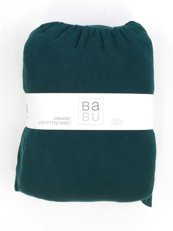 Babu: Organic Cotton Fitted Sheet - Standard Cot (Tui Green)