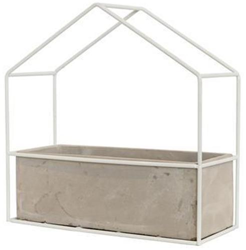 Large White Ceramic Planter Box with Metal House Frame