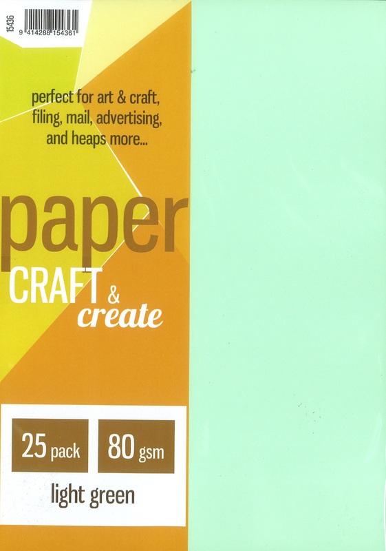 Craft & Create A4 80gsm Paper - Light Green (25 Pack)