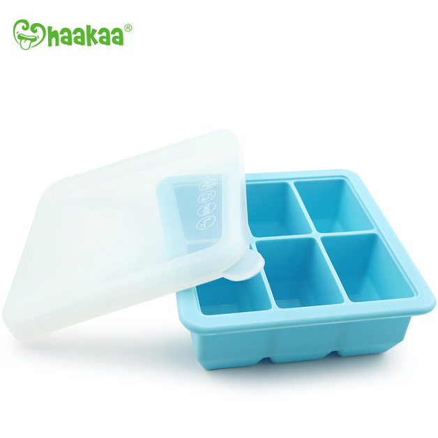 Haakaa: Silicone Baby Food Freezer Tray 6 with Lid - Blue