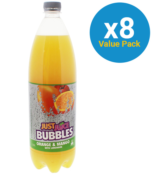 Just Juice Bubbles Orange & Mango 1.25L (8 Pack)