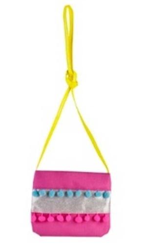 Pink Poppy: Pom Pom Party Shoulder Bag - Hot Pink image