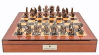 "Dal Rossi: Evil Ring - 20"" Pewter Chess Set (Walnut Finish)"