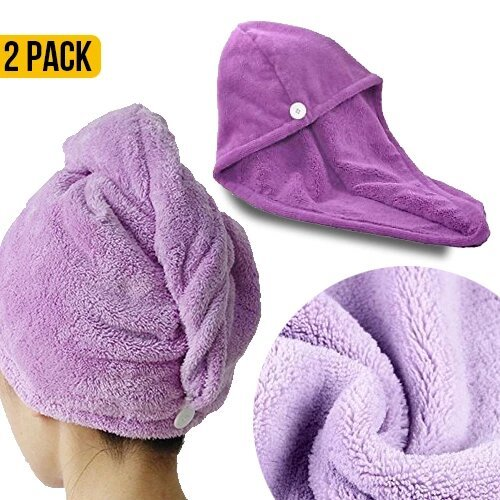 Microfibre Hair Turbans (Set of 2)