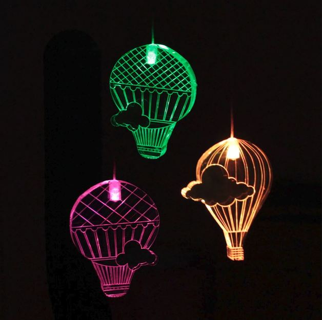 Mobile Night Light with Time - Hot Air Balloons