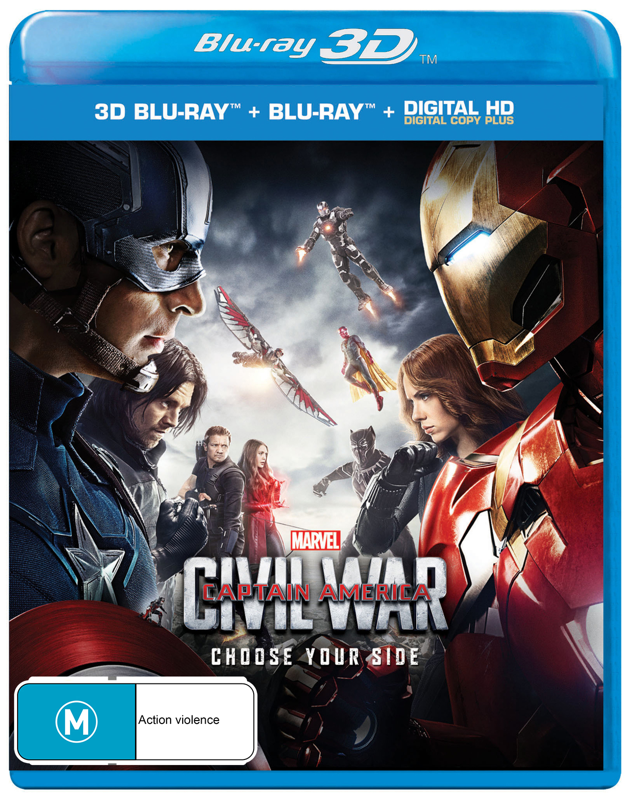 Captain America: Civil War on Blu-ray, 3D Blu-ray, DC+ image