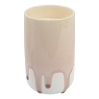 Crackle Glaze Scented Candle in Holder - Winter Frost Pink (Rose)