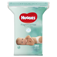 Huggies Baby Wipes - Unscented Wipes Jumbo Pack (240 Wipes) image