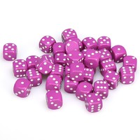 Chessex: D6 Opaque Cube Set (12mm) - Pink/White image