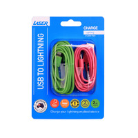 lightning cable twin pack pink and green image