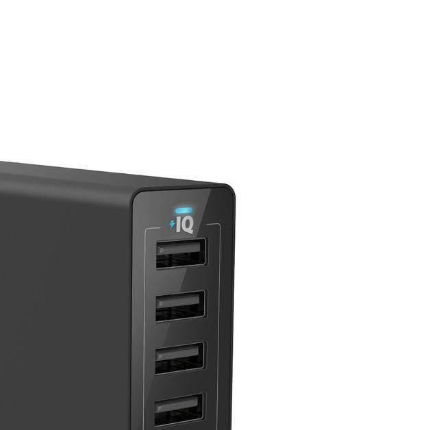 ANKER: PowerPort 6 60W 6-Port Desktop Charger with 3x PowerIQ 2.4A ports - Black