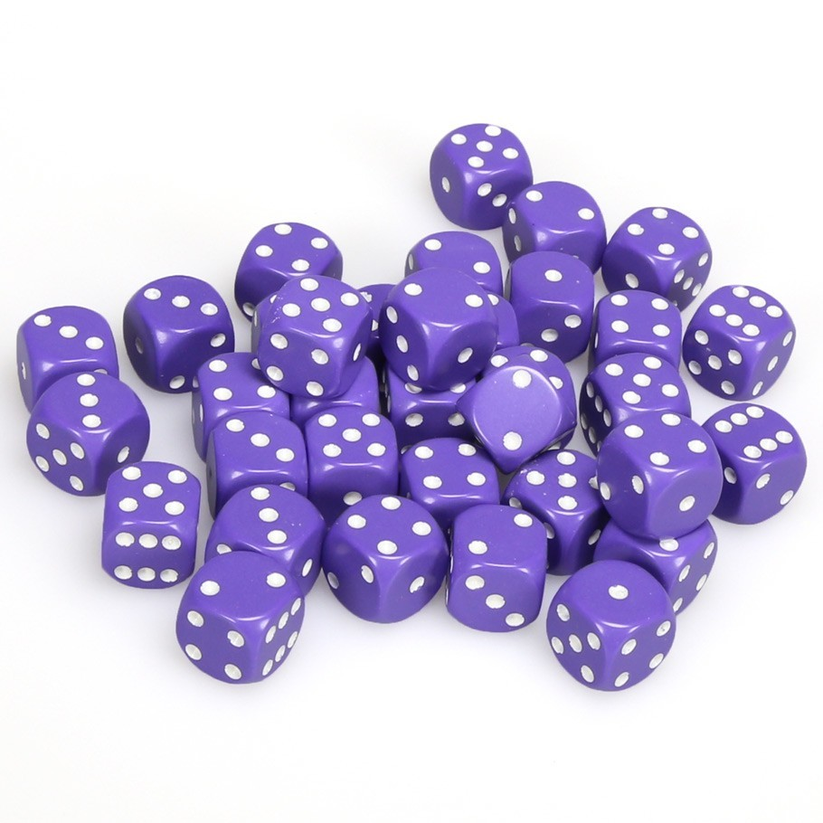 Chessex: D6 Opaque Cube Set (12mm) - Purple/White image