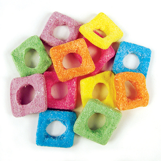 Rainbow Confectionery Sour Squares Lollies Bulk Bag 1kg