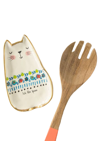 Natural Life: Ceramic Spoon Rest - Cat Lick Spoon