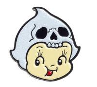 Sourpuss Kewpie Skull Enamel Pin
