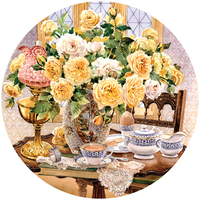 Holdson: Flowers Bring Smiles 500pce Circular Jigsaw Puzzle -Teatime Roses