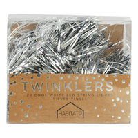 Twinklers: Indoor Cool White LED Lights - Silver Tinsel