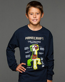 Minecraft Creeper Anatomy Youth Long Sleeved Shirt (Small)
