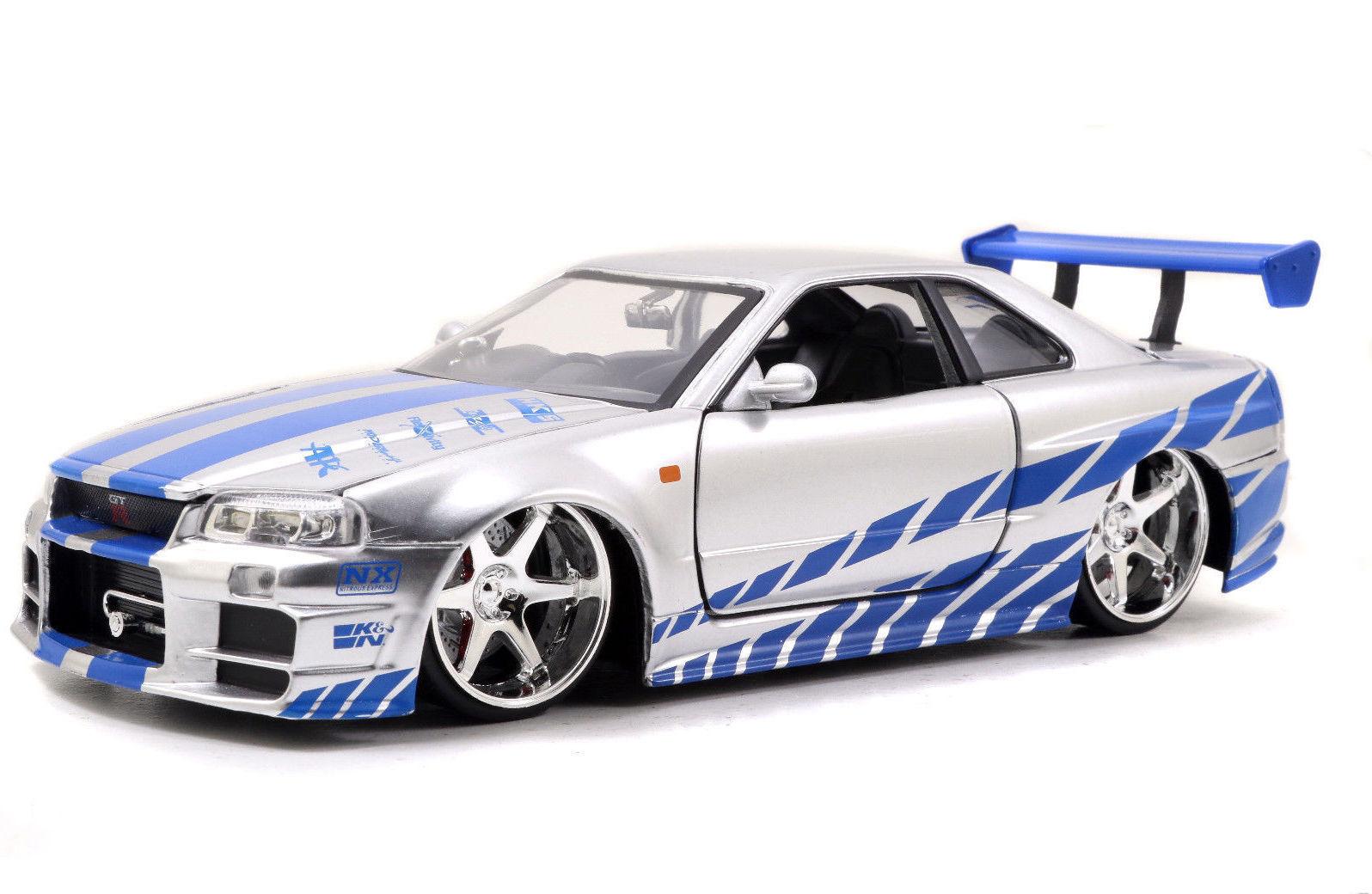 Jada: 1/24 2002 Nissan Skyline R34 Diecast Model (Blue/Silver) image