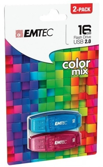 16GB Emtec Flashdrive C410 - 2 Pack (Blue/Red)