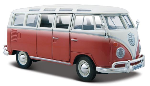 Maisto: 1:24 Die-Cast Vehicle - Volkswagon Van Samba (Red)