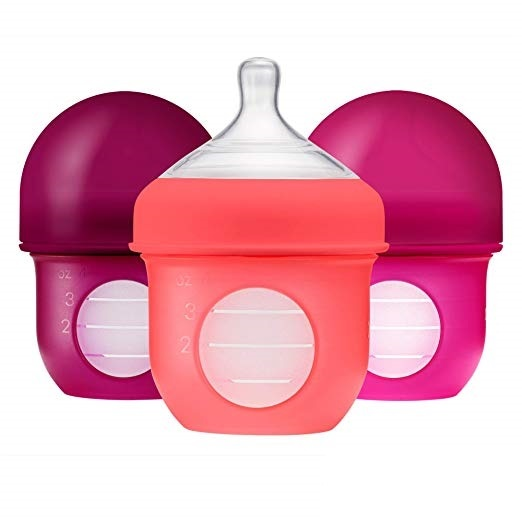 Boon Nursh Silicone Bottles 3pk - Pink (4oz)