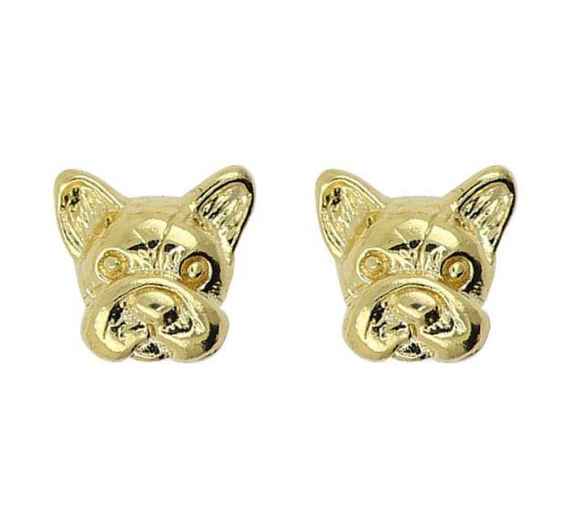 Short Story: French Bulldog Bubble Earring - Gold