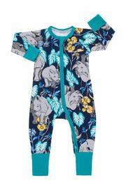 Bonds Zip Wondersuit Long Sleeve - Ron the Rhino Black Sea (3-6 Months)