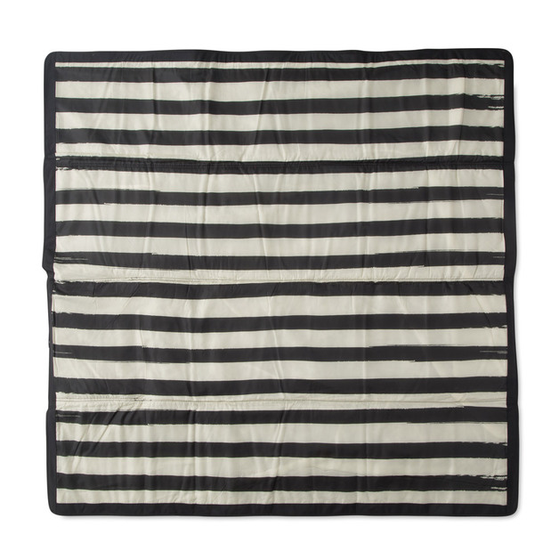 "Little Unicorn: Outdoor Blanket - Black & White Stripe (5"" x 5"")"