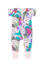 Bonds Zip Wondersuit Short Sleeve - Forest Spot Purple (0-3 Months)
