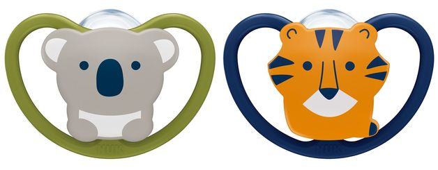 NUK: Space Silicone Soothers Koala/Tiger - 6-18mths (2pk)
