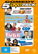 Comedy 5 DVD Pack (Johnny English / Happy Gilmore / Kindergarten Cop / Fletch / Blues Brothers) (5 Disc Set) on DVD