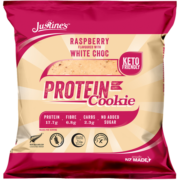 Justine's Protein Cookies - Raspberry White Chocolate (12 x 64g)