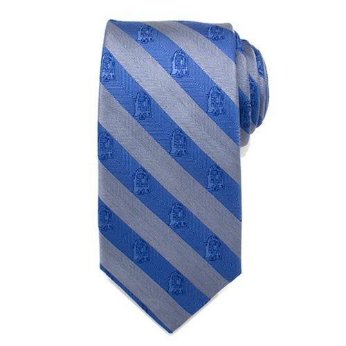 Star Wars: R2-D2 Blue & Grey Stripe - Mens Silk Tie