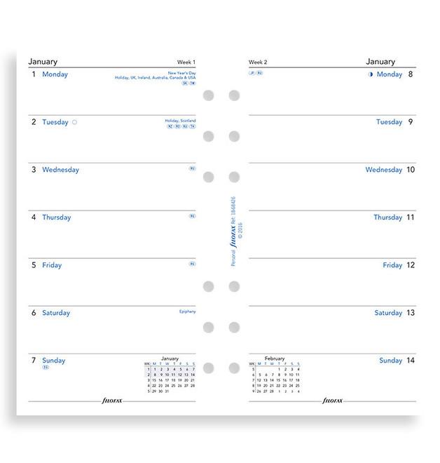 Filofax: Personal 2020 Refill - Week per Page (Unlined)