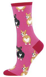 Socksmith: Women's Corgi Butt Crew Socks - Pink