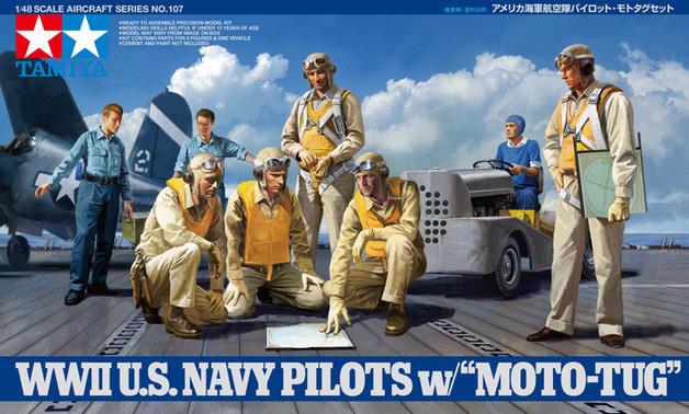 Tamiya U.S. WWII Navy Pilots with Moto Tug 1/48 Model Kit