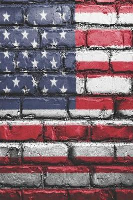 American Flag Painted Brick by Delsee Notebooks